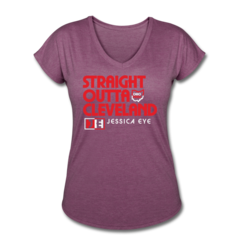Women's V-Neck Tri-Blend T-Shirt by Jessica Eye